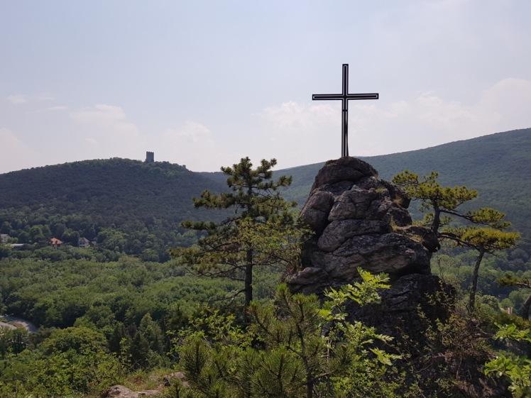 75 Aussicht auf Ruine Rauheneck und Gipfelkreuz 1
